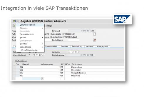 Mit it.documents lassen sich etliche SAP Transaktionen integrieren