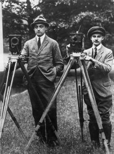 Photo showing ARRI founders with cameras.