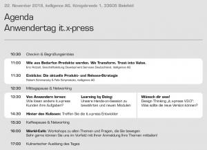 Agenda Anwendertag Versandlösung it.x-press