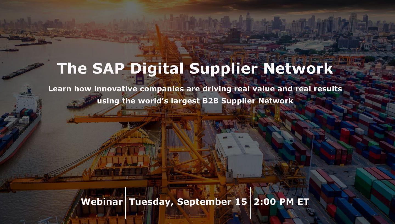 SAP Digital Supplier Network itelligence Webinar Ariba