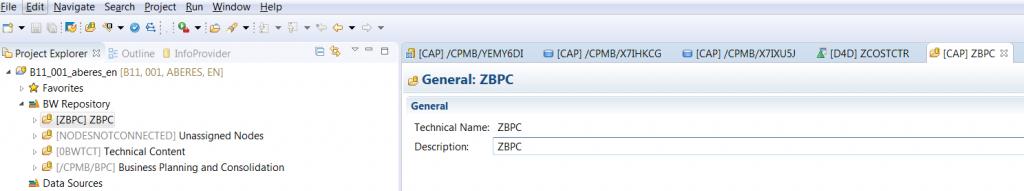 SAP BPC 11.0 GUI interface screen shot