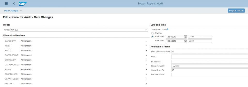 SAP BPC 11.o screenshot of reporting