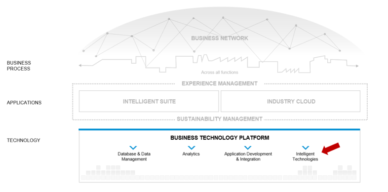 The intelligent technologies within the SAP Intelligent Enterprise Framework (Source: SAP)