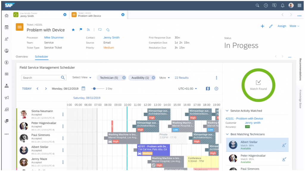 Scheduling service calls with SAP Service Cloud and SAP FSM