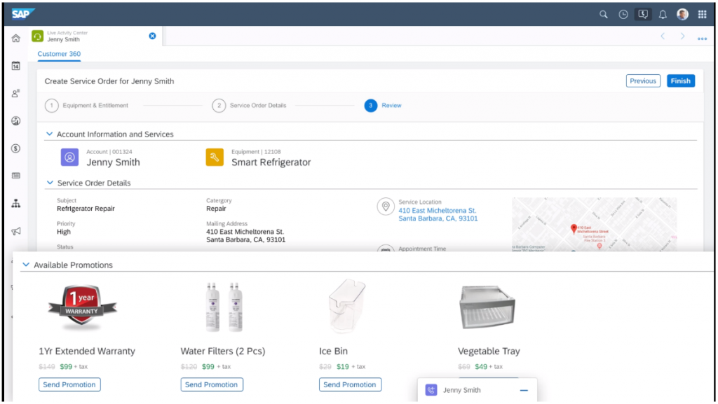 View available promotions within SAP Service Cloud