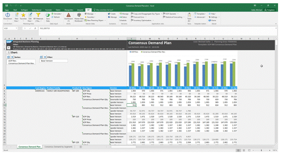 Microsoft Excel as planning interface and with direct connection to SAP IBP