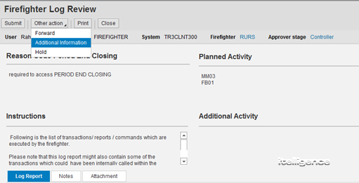 Firefighter Controller Additional Information Feature of the GRC Access Controls