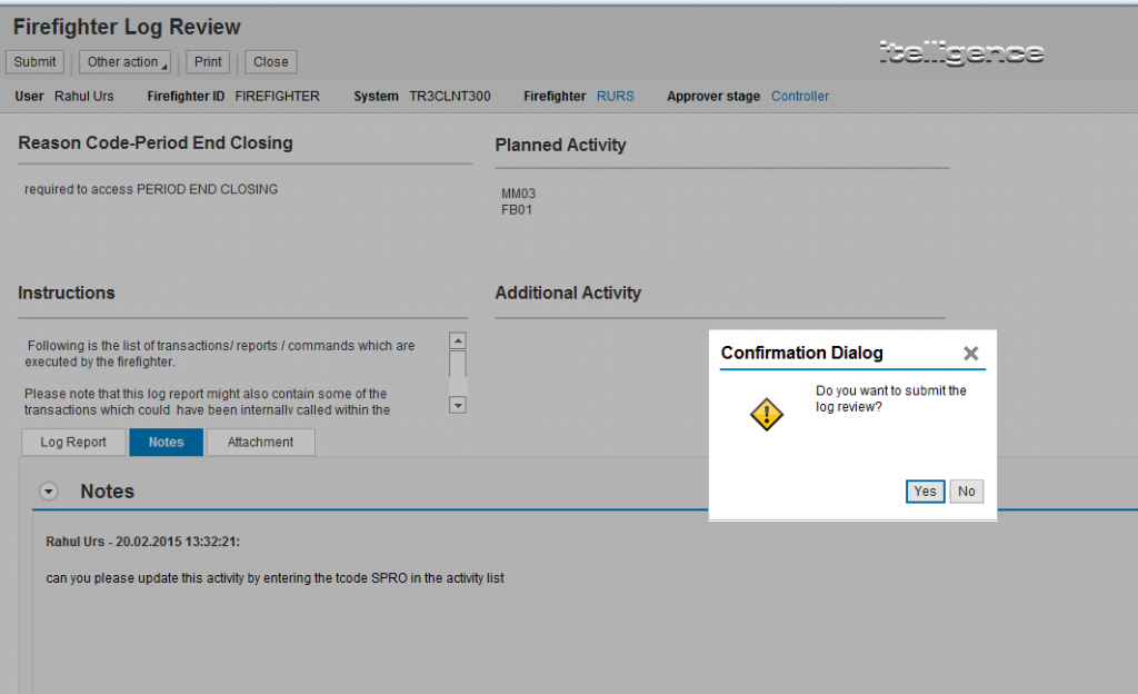 GRC Firefighter Controller Additional Information Feature of the GRC Access Controls