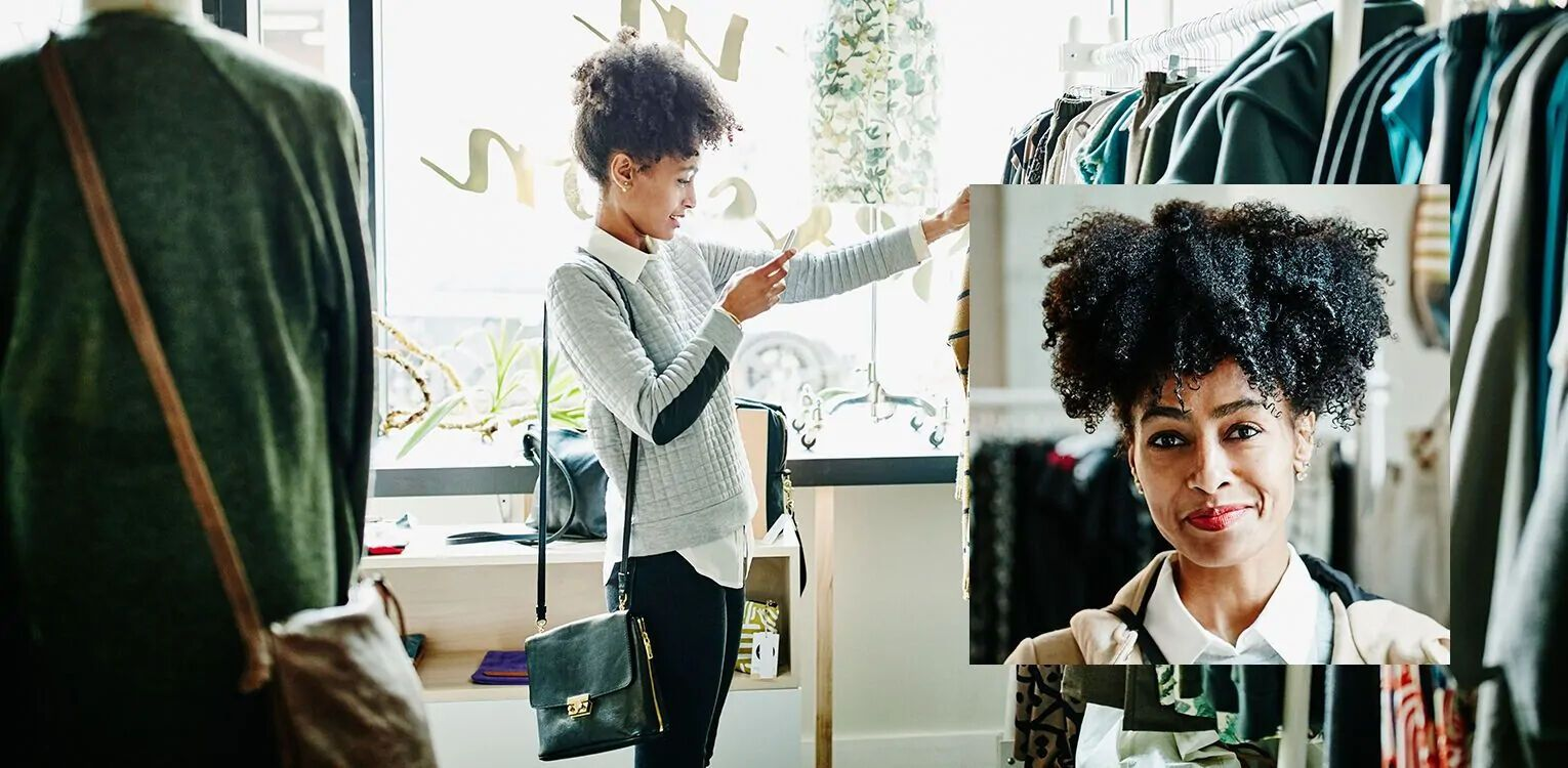 Retail-Textile-Woman-in-Clothing-Store