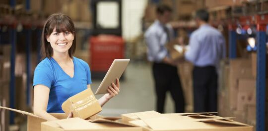 women in packaging factory
