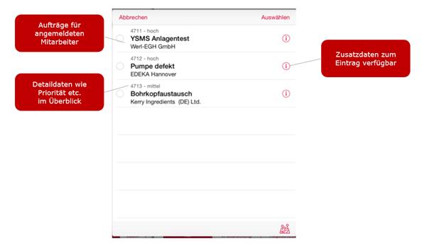 Screenshot Instandhaltungsprozesse in der itelligence Lösung it.mobile Maintenance