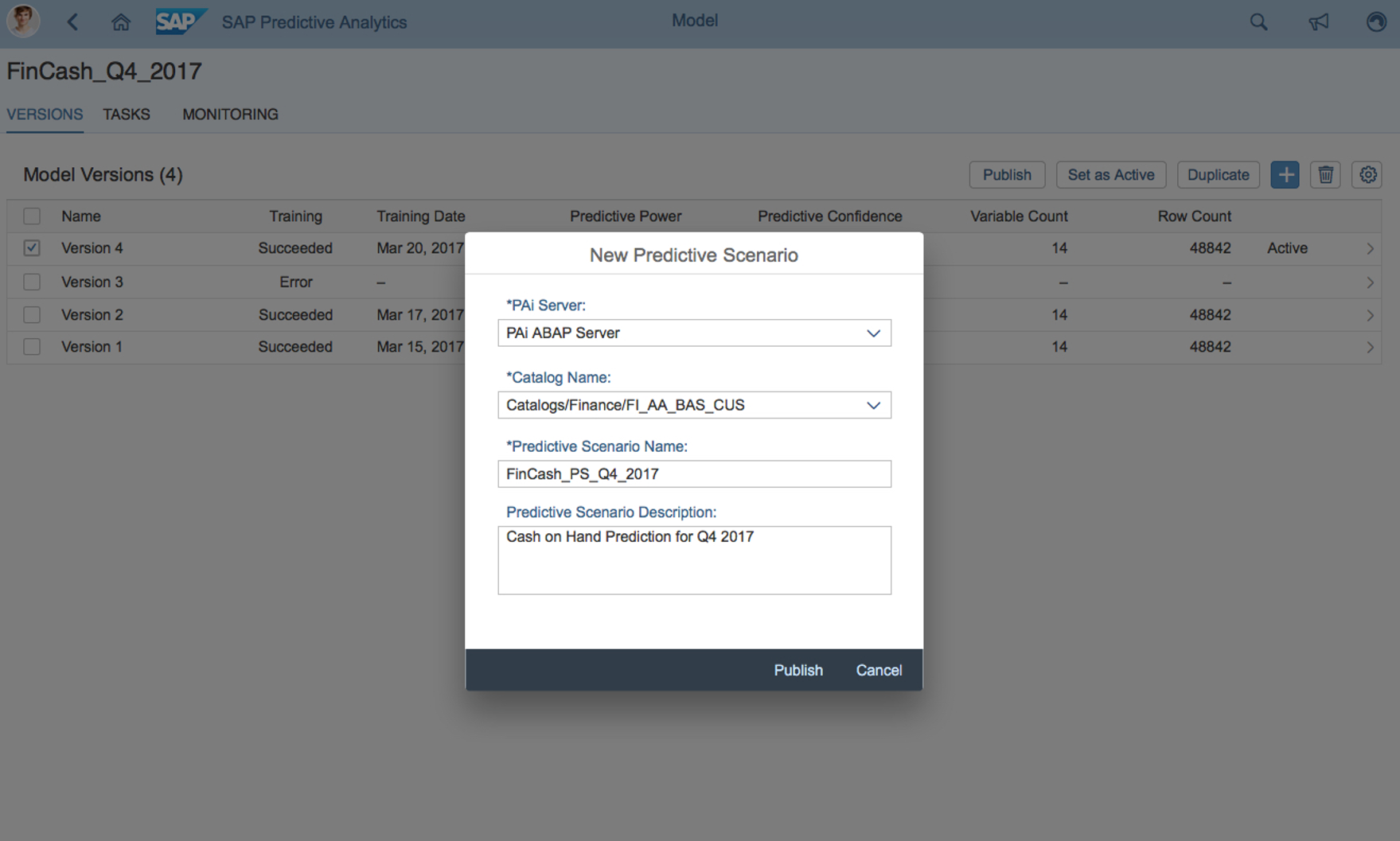 SAP predictive analytics screen shot