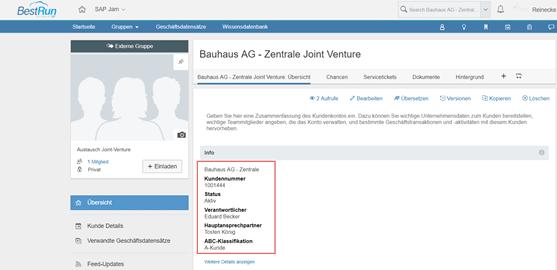 Kunden-Gruppe inkl. Geschäftsdatensätze aus SAP Hybris Sales Cloud in SAP Jam