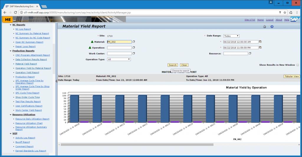 SAP ME-Ekran