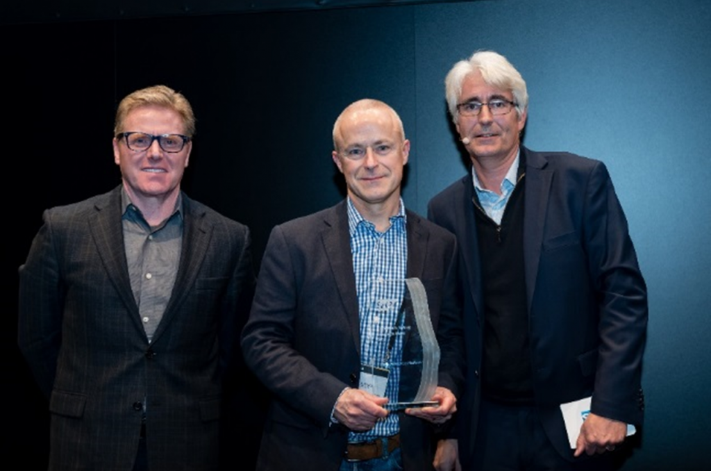 From left to right: Rodolpho Cardenuto (SAP), President Global Partner Operations, Alan Miller (NTT DATA Business Solutions), Sales Director, and Stéphane Mermet (SAP), Vice President General Business North Cluster and Solutions