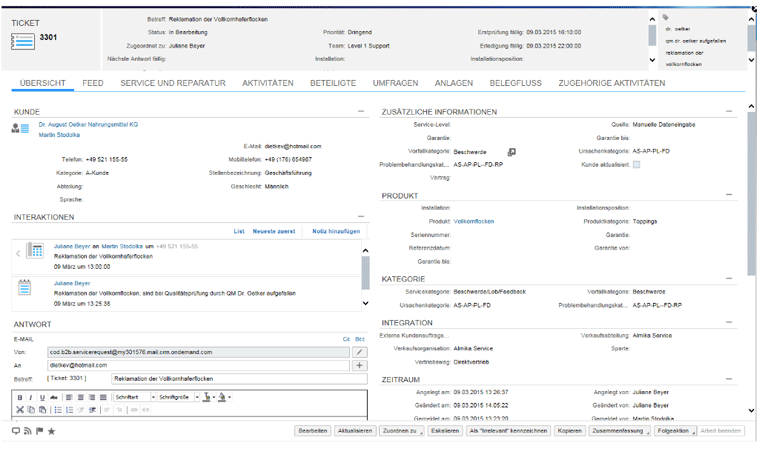 Screenshot SAP Hybris Service Cloud Übersicht