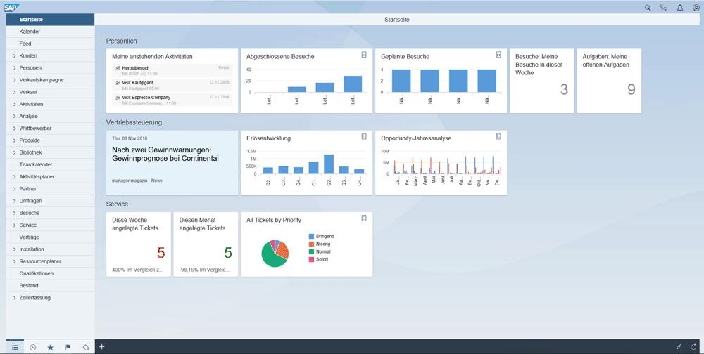Screenshot der Startseite SAP Sales Cloud