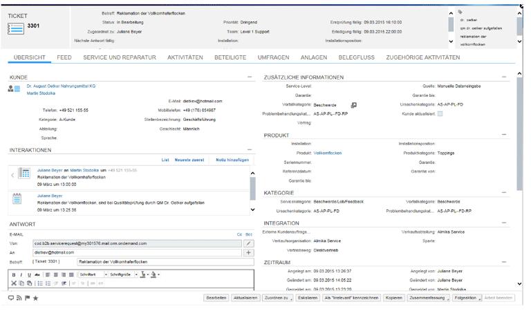 SAP Service Cloud - Ticketmanagement Übersicht