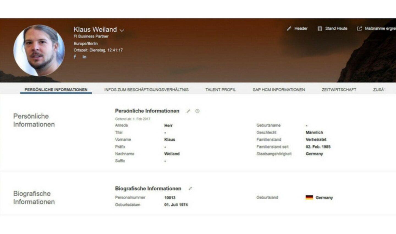SAP SuccessFactors Benutzeroberfläche (beispielhafte Darstellung Mitarbeiterprofil)