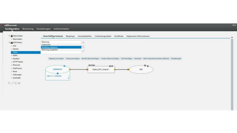 Screen elektronischer Datenaustausch (EDI): Mapping mit itx-EDIconnect