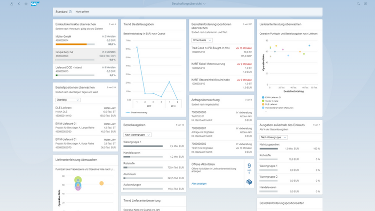 Screen SAP S4HANA sourcing and procurement