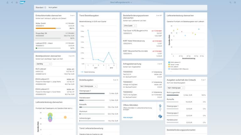 SAP S4HANA sourcing and procurement ist durch die modernen Nutzeroberflächen extrem übersichtlich und intuitiv.