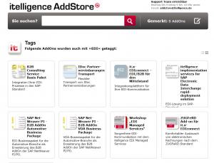Screenshot EDI AddOns-Angebote im AddStore