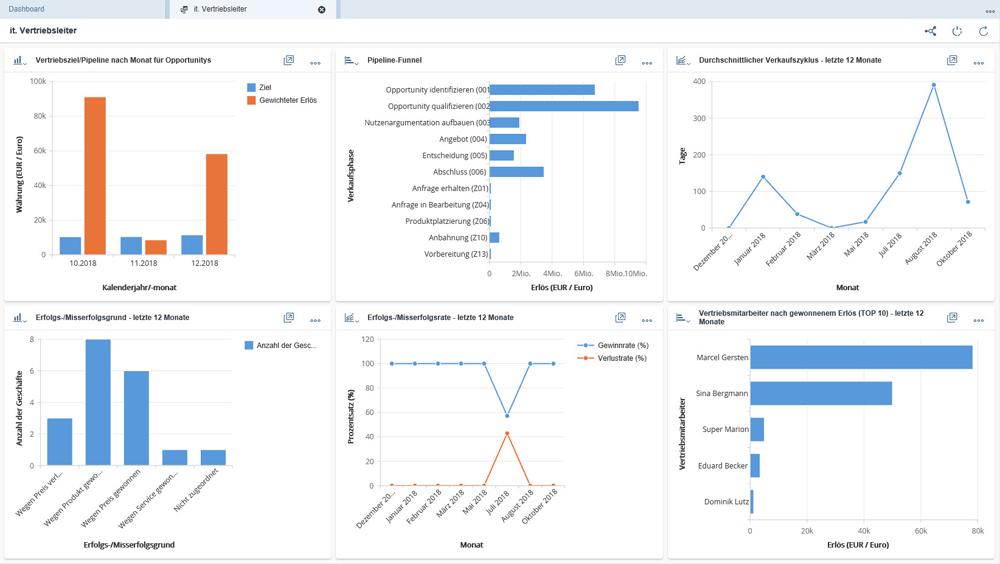 Screenshot SAP Sales Cloud Daschboard