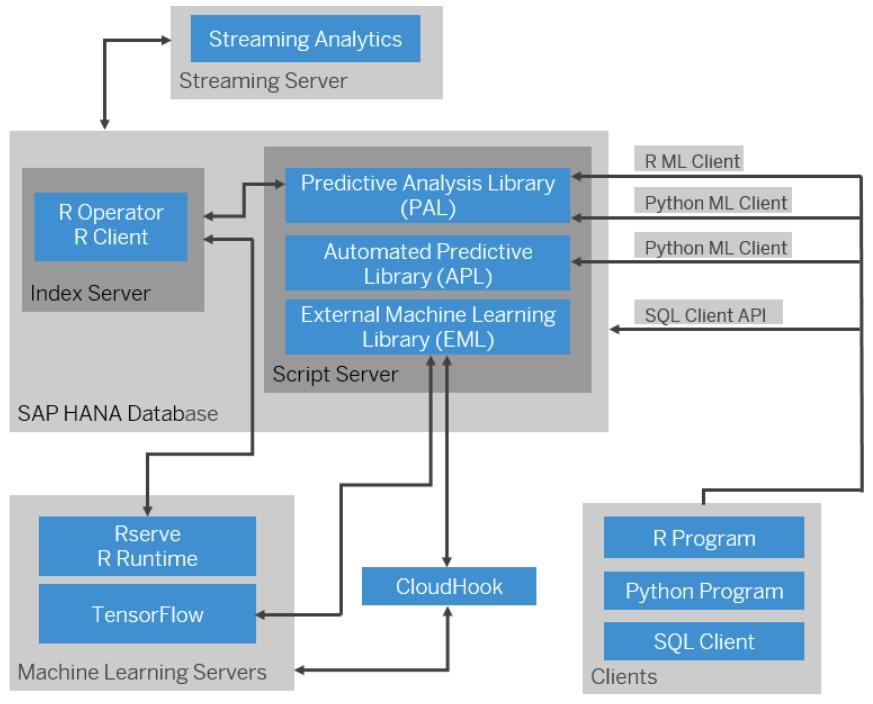 Abbildung 1: SAP HANA Machine Learning Overview, Quelle: SAP (2021)