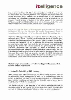 10. Corporate Governance Declaration 2011