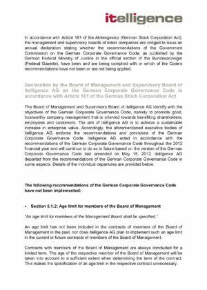 11. Corporate Governance Declaration 2012