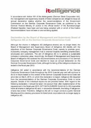 14. Corporate Governance Declaration 2015