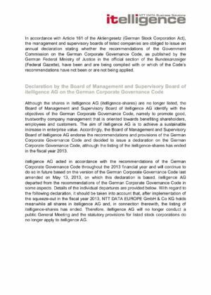 12. Corporate Governance Declaration 2013