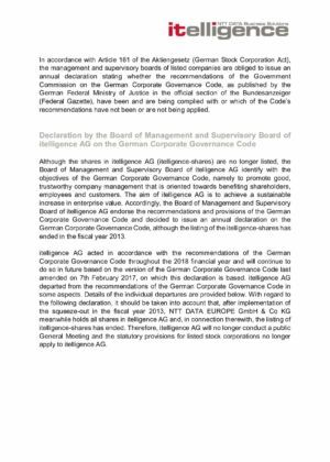 17. Corporate Governance Declaration 2018