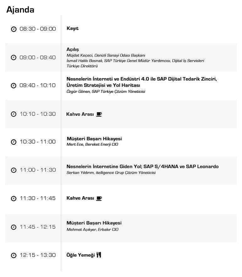 SAP Endüstri 4.0 etkinliği program