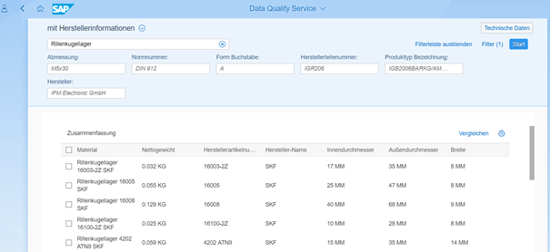 Screenshot ClassCockpit Cloud – Data Quality Service - Suche