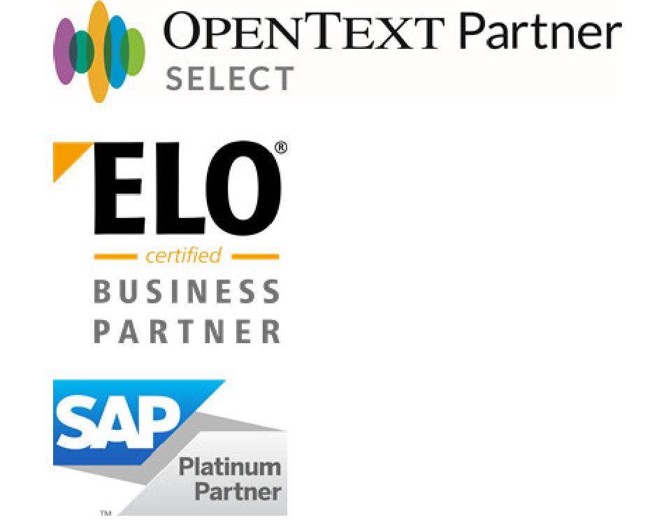 OpenText, ELO, SAP logok