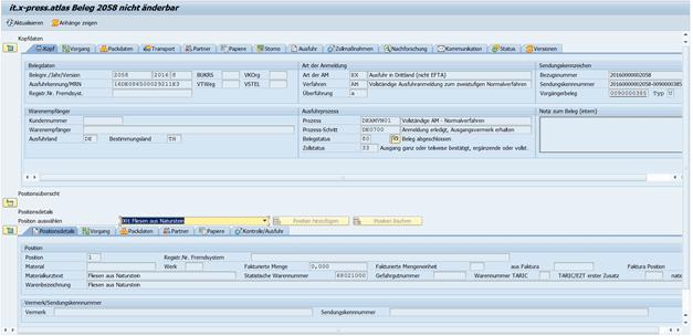Screenshot it.x-press-atlas ATLAS-Ausfuhr Statusmeldung