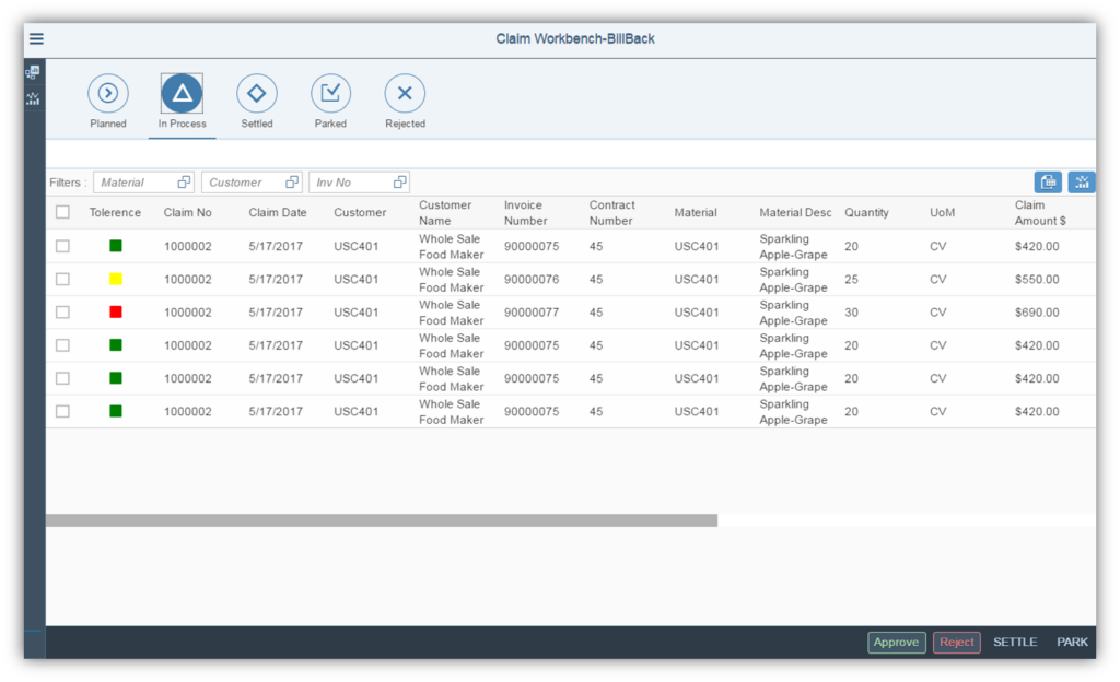 incentive management screen claim workbench billback