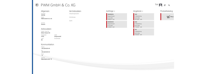 Kunden-Detailansicht im it.mx product catalog