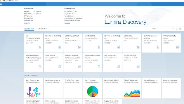 Lumira data discovery screen shot