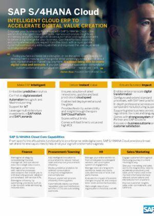 Cloudové řešení SAP S/4HANA vám pomáhá vytvářet digitální hodnoty a inovovat stávající systémy