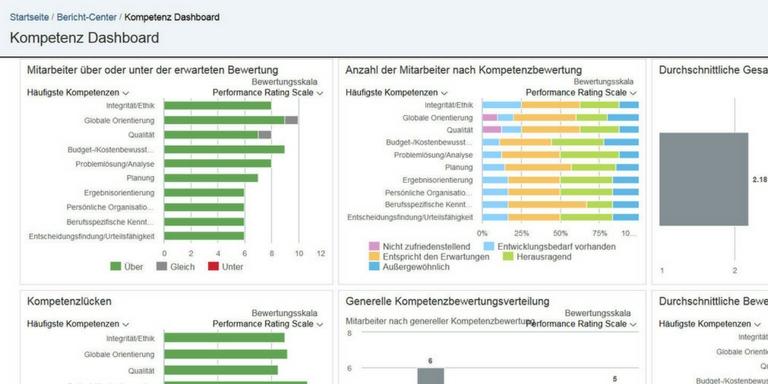 SAP SuccessFactors Benutzeroberfläche (beispielhafte Darstellung HR-Analytics)