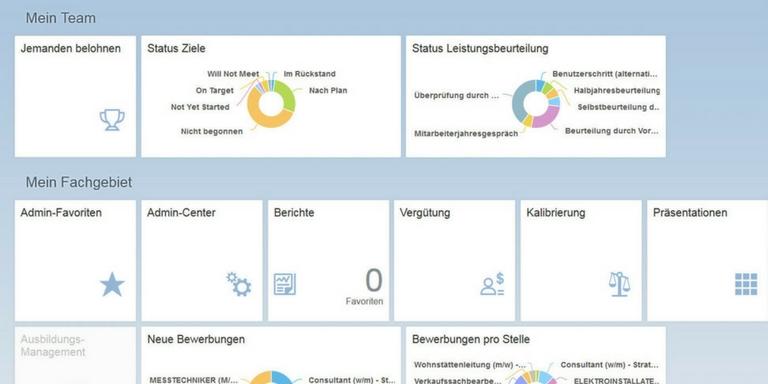 SAP SuccessFactors Benutzeroberfläche Homepage.