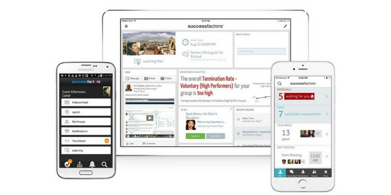 SAP SuccessFactors Benutzeroberfläche mobile Endgeräte.