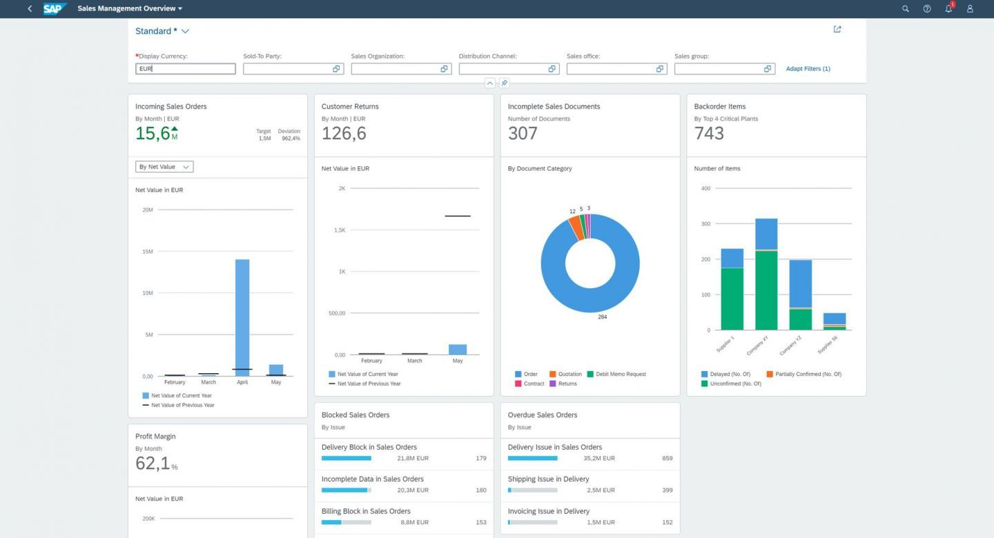 With SAP Fiori and an intuitive UX on any device. New insight to action combines transactions and analytics. Digital assistant (SAP Conversational AI) and bot integration available. (e.g. Sales Management Overview)
