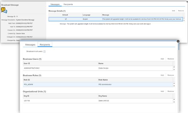 sap service cloud broadcasting feature