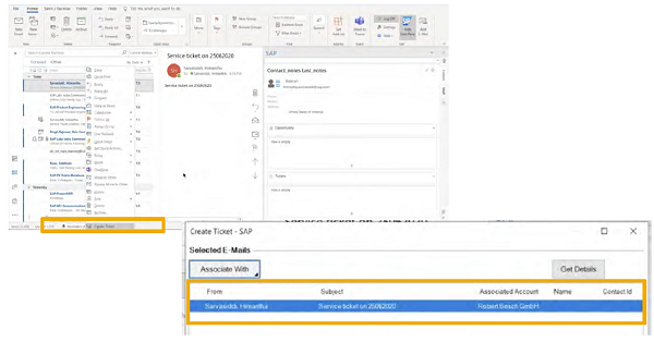 sap service cloud create tickets in Microsoft Outlook