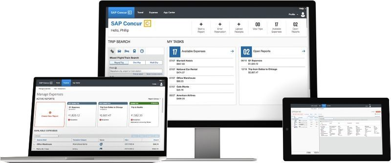 SAP Concur for expense, travel, and invoice challenges displayed on a desktop, laptop and pad.