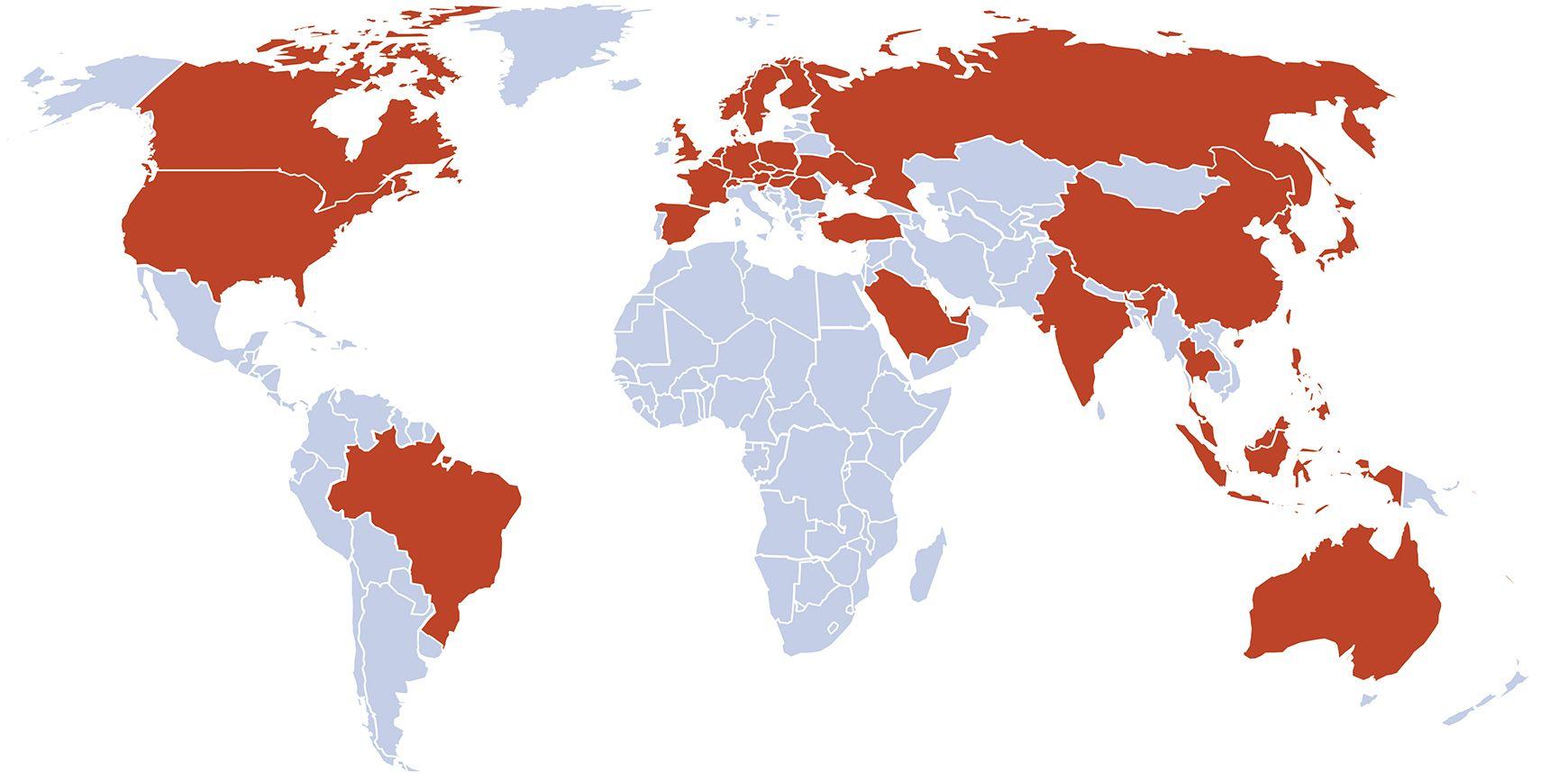 Verdenskart med landene som NTT DATA Business Solutions opererer i